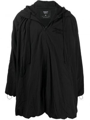 Nylon ze sznurkiem do ściągania z rękawami czarny płaszcz przeciwdeszczowy Reebok