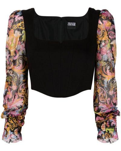 Czarny crop top z printem Versace Jeans Couture
