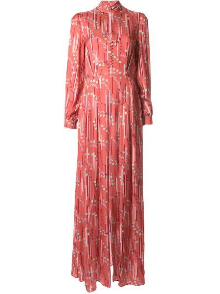 Розовое приталенное платье макси с воротником с манжетами Paul & Joe