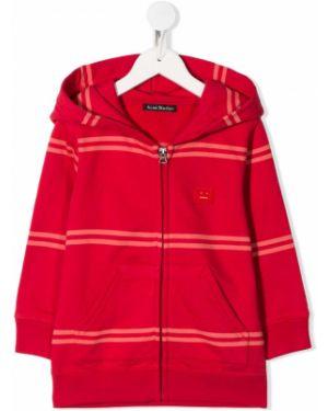 Толстовка красная с капюшоном Acne Studios Kids
