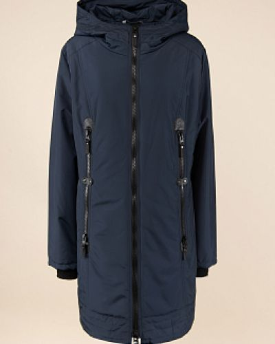 Прямое синее пальто с капюшоном Dizzyway