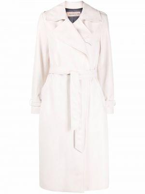 Biały długi płaszcz skórzany Blanca Vita