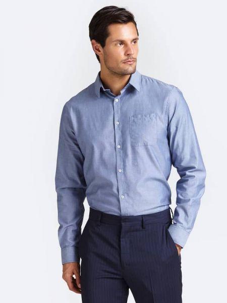 Koszula z długim rękawem na przyciskach z kieszeniami Guess