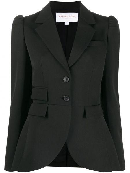 Однобортный черный удлиненный пиджак с карманами Michael Kors Collection