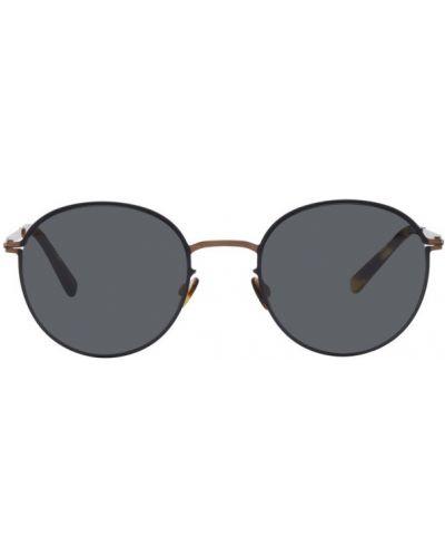 Мерцающие черные солнцезащитные очки круглые с тиснением Mykita