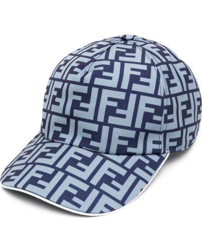 Niebieski z paskiem bawełna bawełna czapka z daszkiem Fendi