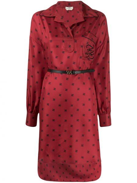 Шелковое красное платье макси с поясом Fendi