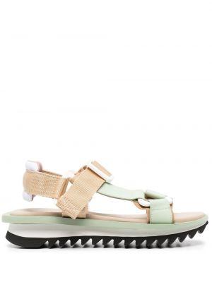 Зеленые кожаные с ремешком сандалии Grey Mer
