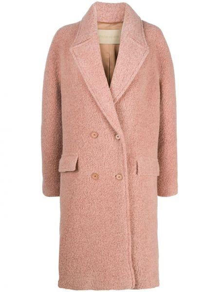Шерстяное розовое пальто на пуговицах свободного кроя Christian Wijnants