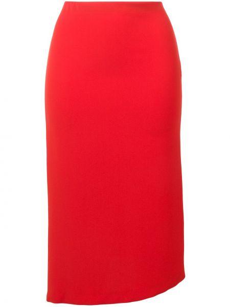 Приталенная асимметричная юбка миди в рубчик Poiret