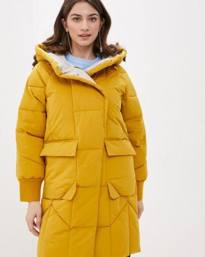 Утепленная желтая куртка снежная королева