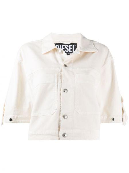 Джинсовая куртка серебряная на пуговицах Diesel