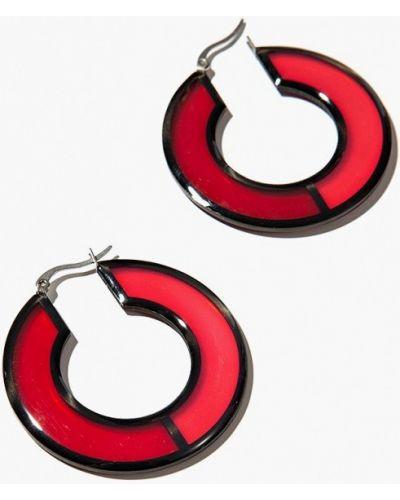 Красные серьги-кольца Exclaim