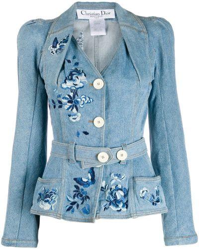 Синяя джинсовая куртка с поясом с вышивкой Christian Dior Pre-owned