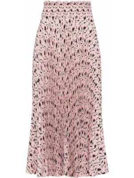 Розовая с завышенной талией юбка миди в рубчик с поясом Prada