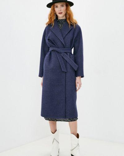 Синее пальто двубортное Doroteya