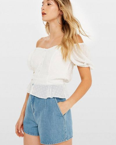 Блузка с открытыми плечами белая осенняя Miss Selfridge
