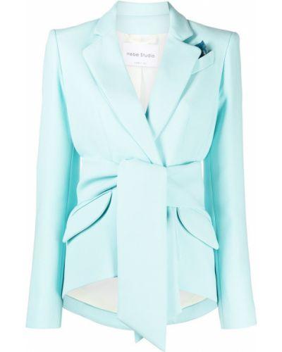 Зеленый классический пиджак с карманами с лацканами Hebe Studio