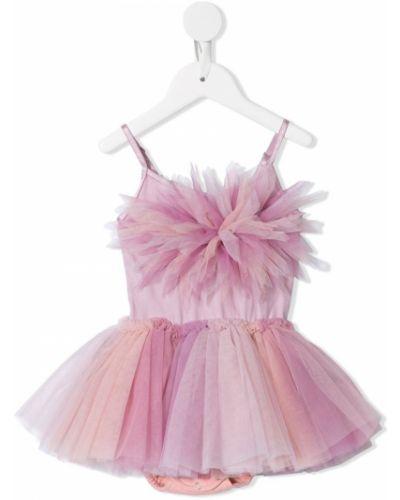 Прямое розовое пышное платье из фатина с вырезом Tutu Du Monde