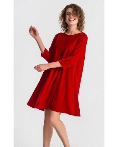 Красное расклешенное велюровое платье на торжество Vovk