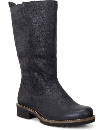Зимние ботинки черные кожаные Ecco