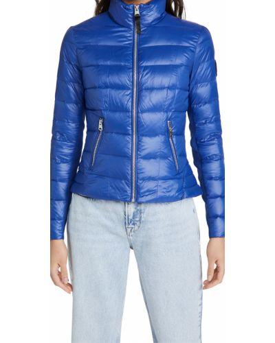 Стеганая пуховая синяя длинная куртка Mackage