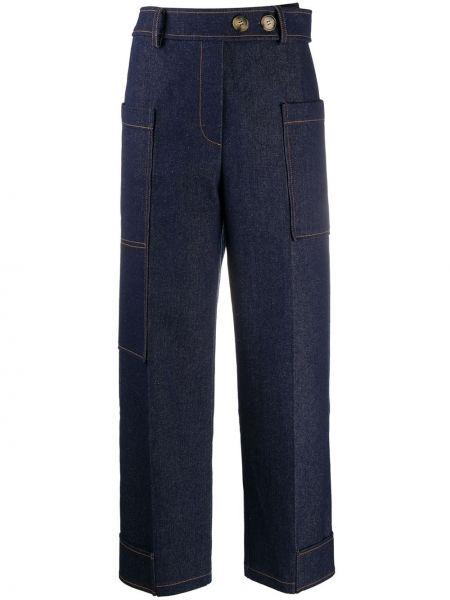Прямые синие джинсы с высокой посадкой Rejina Pyo