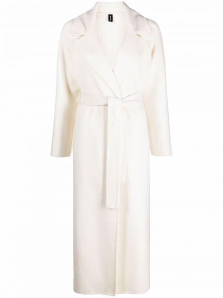 Biały długi płaszcz wełniany Palto