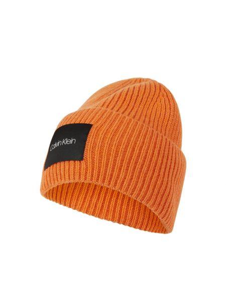 Pomarańczowy wełniany czapka baseballowa z paskami Ck Calvin Klein
