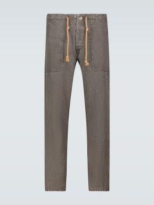 Льняные спортивные брюки - синие Nanushka