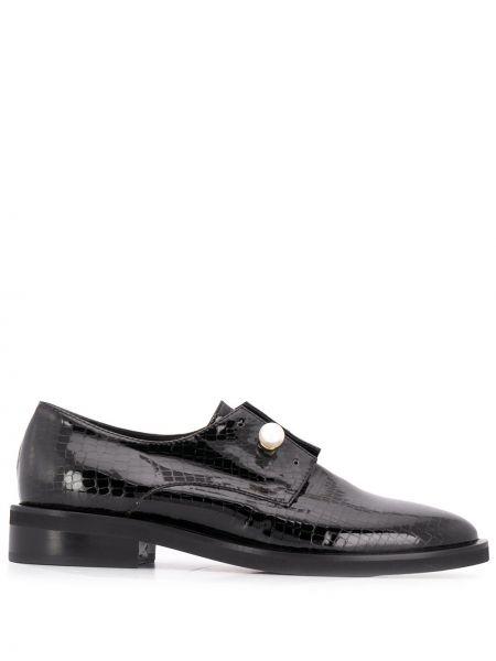 Skórzany czarny buty brogsy niskie obcasy wytłoczony Coliac