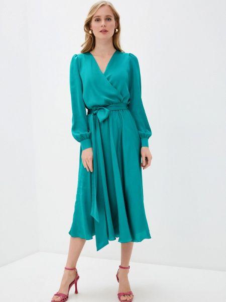 Однобортное бирюзовое платье Seam