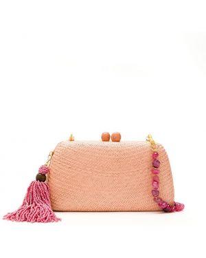 Розовая соломенная сумка на цепочке Serpui