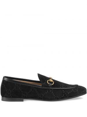 Loafers na obcasie - czarne Gucci