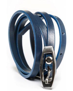 Тонкий ремень темно-синий синий Lakestone