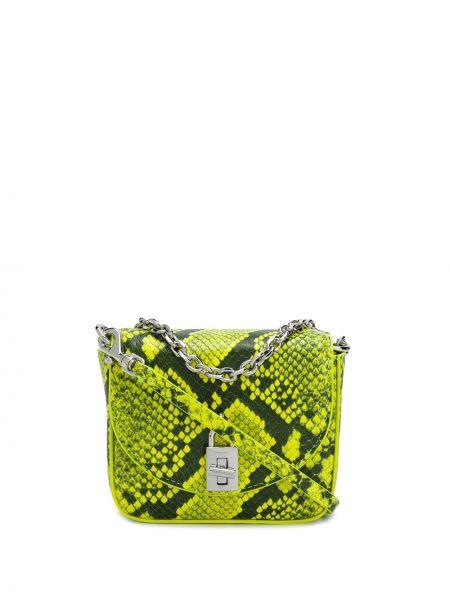 Желтая с ремешком кожаная сумка на цепочке Rebecca Minkoff