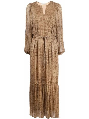 Коричневое прямое платье с вырезом Mes Demoiselles
