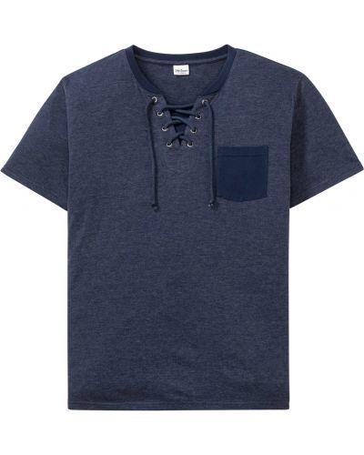 Синяя футболка с карманами на шнуровке Bonprix