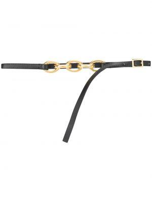 Золотистый кожаный черный ремень Marni