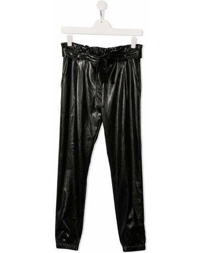 Приталенные кожаные черные брюки Msgm Kids
