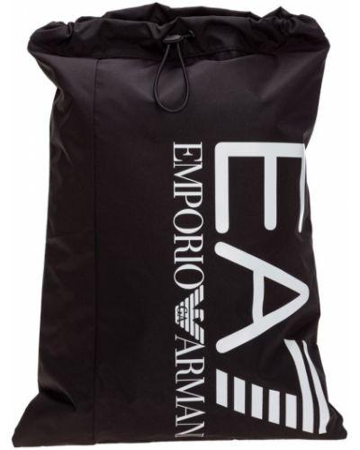 Czarny plecak sportowy z printem z niskim stanem Emporio Armani Ea7