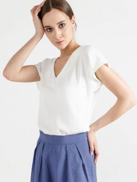 Блузка с коротким рукавом белая весенний Remix