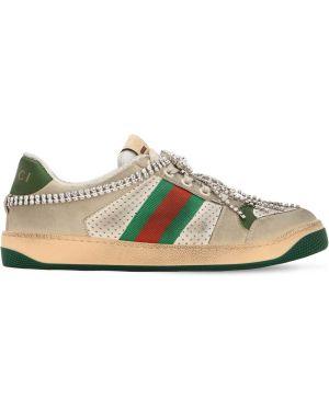 Кожаные кроссовки с перфорацией со стразами Gucci
