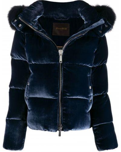 Прямая синяя стеганая куртка из искусственного меха Moorer
