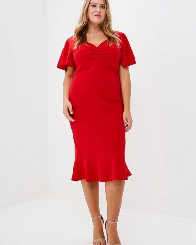 Платье весеннее красный Goddiva Size Plus
