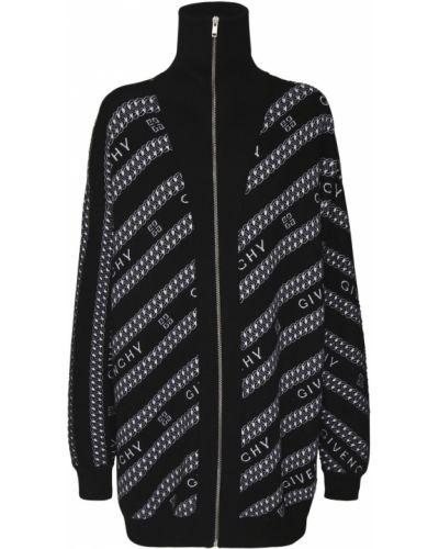 Prążkowany czarny kardigan wełniany Givenchy