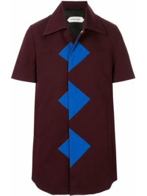 Хлопковая с рукавами красная рубашка с короткими рукавами с воротником Namacheko