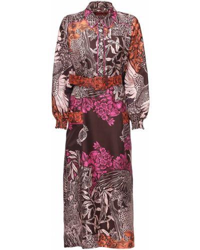 Sukienka midi z paskiem z jedwabiu z printem F.r.s For Restless Sleepers