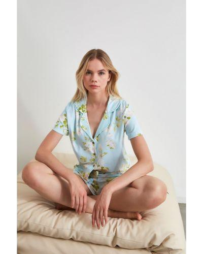 Piżama zapinane na guziki - szara Trendyol