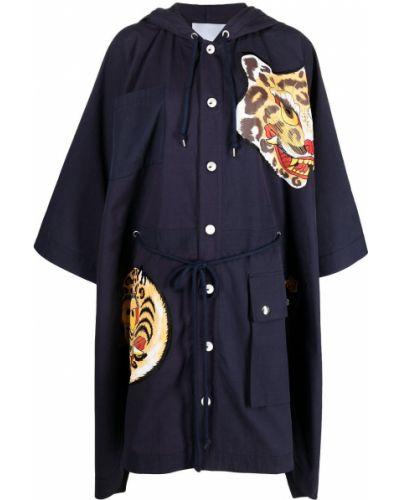 Хлопковый синий кейп с капюшоном Kenzo